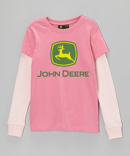 Medium Pink Branded Layered Tee - Girls