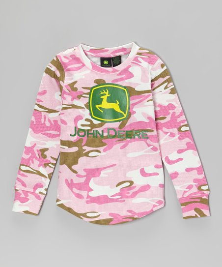 Pink Camo Branded Thermal Tee - Girls