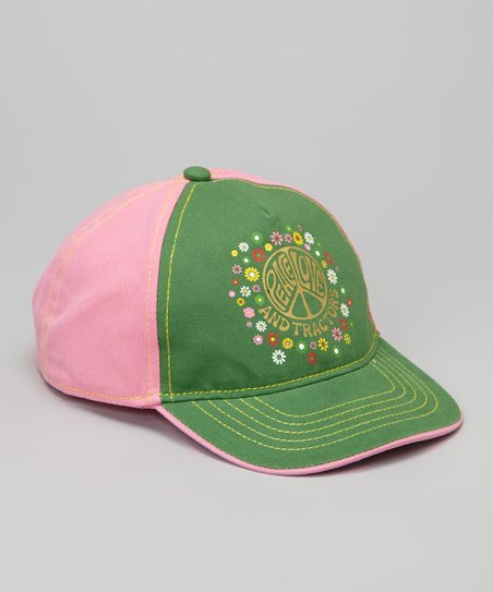 Green 'Peace Love and Tractors' Baseball Cap