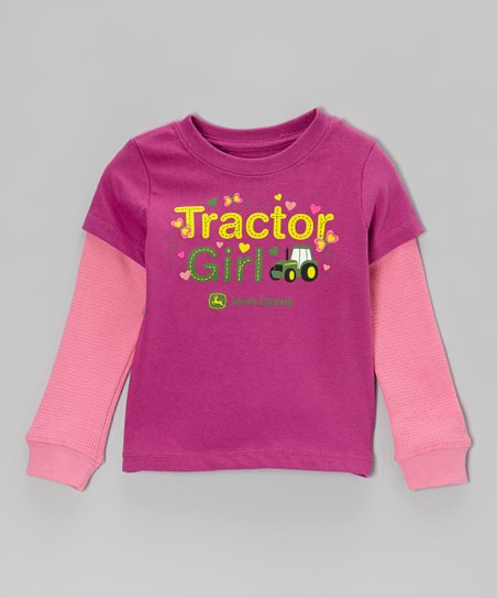 Fuchsia 'Tractor Girl' Layered Tee - Infant & Toddler