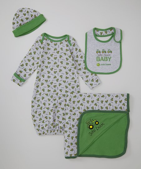 Heather Gray 'John Deere Baby' Gown Set - Infant