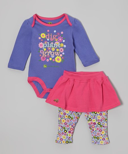 Purple 'Dig Plant Grow' Bodysuit & Skirted Leggings - Infant
