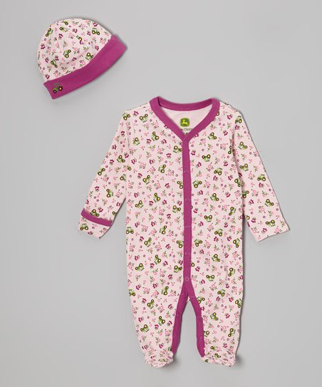 Light Pink Tractor Footie & Beanie - Infant