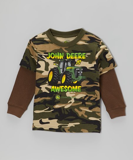 Camo 'John Deere Awesome' Layered Tee - Toddler
