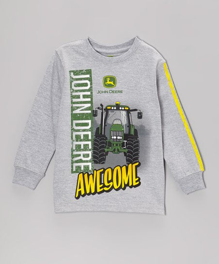 Heather Gray 'Awesome' Long-Sleeve Tee - Boys