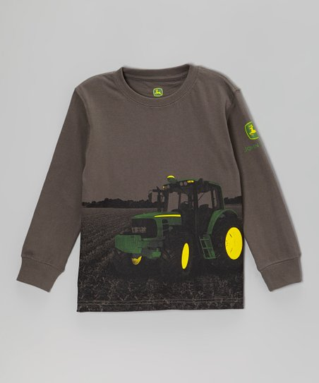 Dark Gray Farming Long-Sleeve Tee - Boys