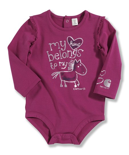 Plum 'My Heart' Pony Bodysuit - Infant