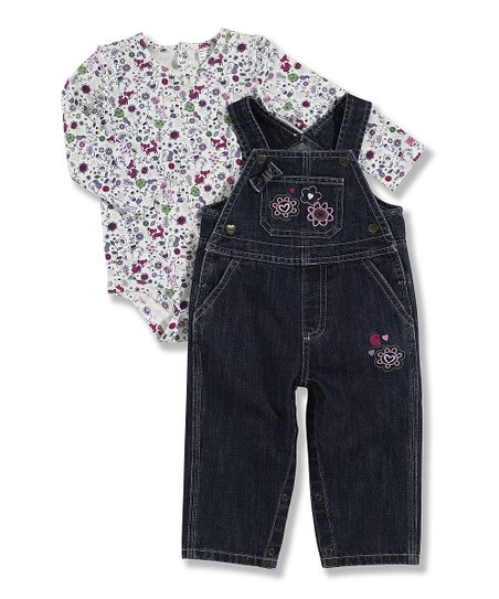 White Floral Bodysuit & Denim Overalls - Infant