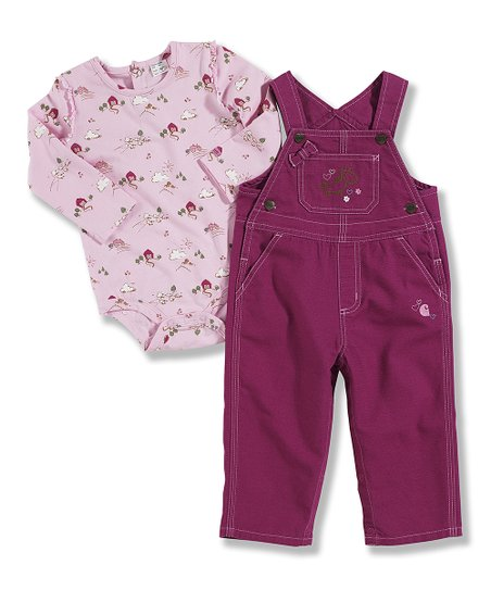 Dark Pink House Bodysuit & Overalls - Infant