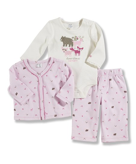 Pink & White Animals Pajama Set - Infant