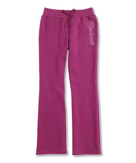 Dark Pink Fleece Yoga Pants - Girls