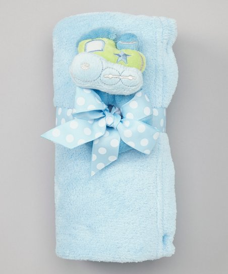 Blue Plush Receiving Blanket & Rattle