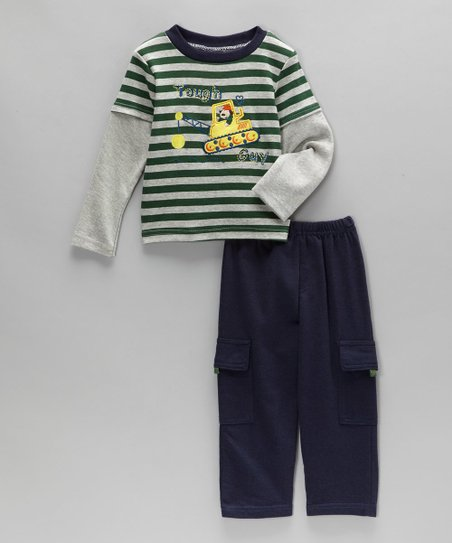 Green Stripe 'Tough Guy' Top & Blue Pants - Infant