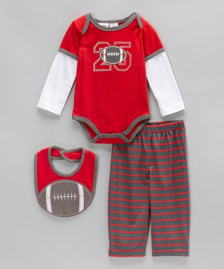 Red & Gray Stripe Football Bodysuit Set - Infant