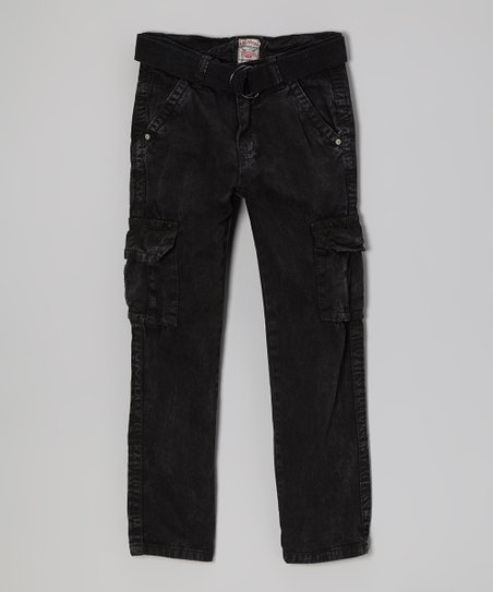 Black Belted Cargo Pants - Boys