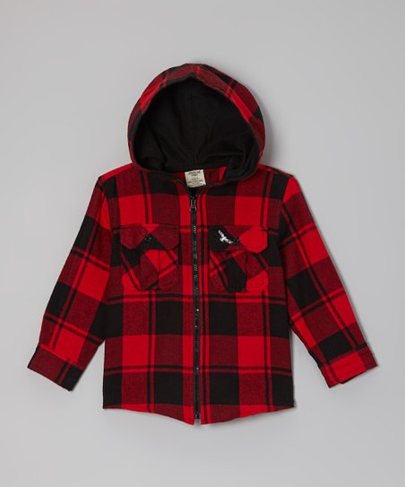 Black & Red Plaid Hooded Jacket - Boys