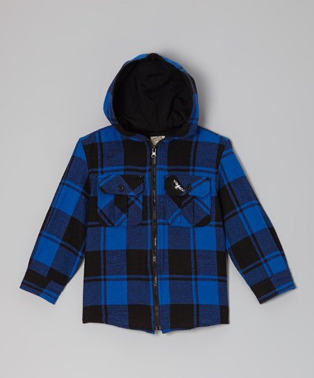 Black & Royal Blue Plaid Hooded Jacket - Boys