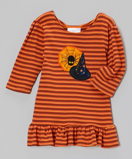 Orange Witches Spell Spider Web Dress - Infant, Toddler & Girls