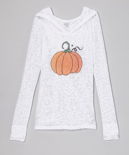 White Bee & Pumpkin Burnout Hoodie - Girls