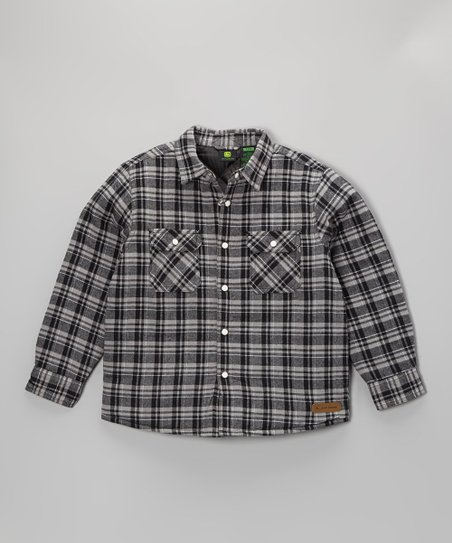 Black Plaid Button-Up Jacket - Boys