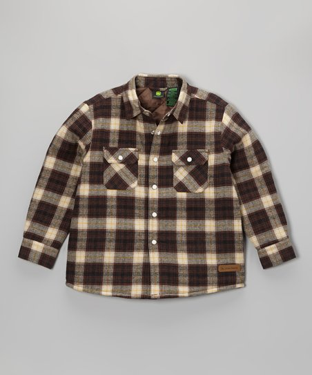 Brown Plaid Button-Up Jacket - Boys
