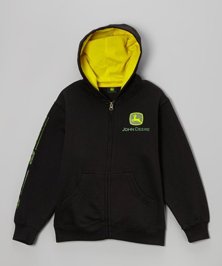 Black Plush Branded Zip-Up Hoodie - Boys