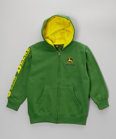 Green Plush Branded Zip-Up Hoodie - Boys