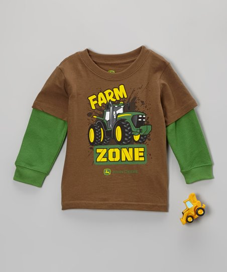 Brown & Green Layered Tee & Tractor Toy - Toddler
