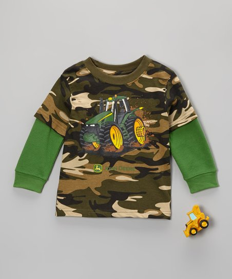 Camo & Green Power Layered Tee & Tractor Toy - Toddler