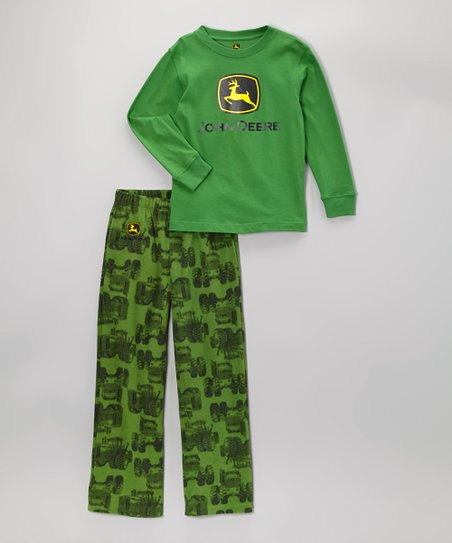 Green Branded Tractor Pajama Set - Boys