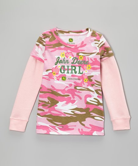 Pink Camo 'John Deere Girl' Layered Tee - Girls