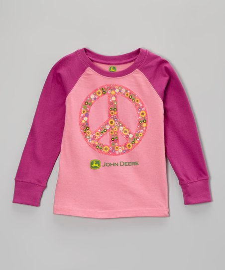 Pink Peace Raglan Tee - Girls