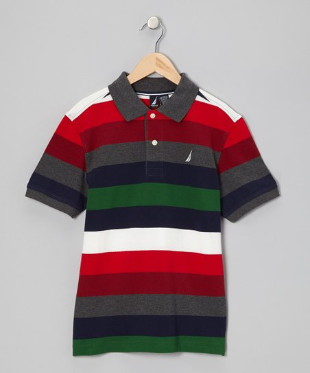 Coal Heather Stripe Polo - Infant