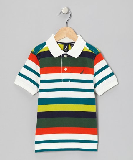 Cream & Green Stripe Polo - Infant