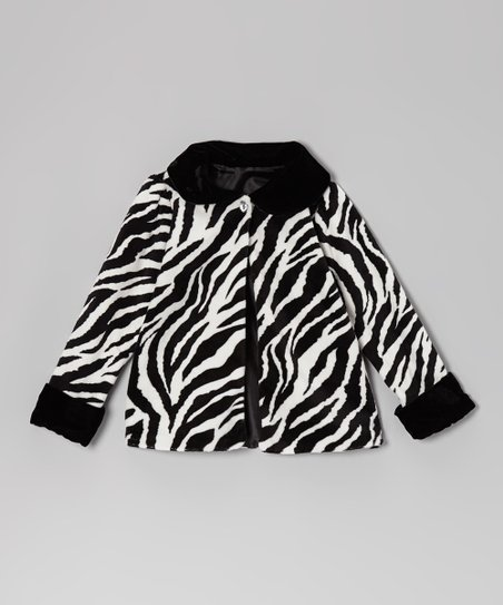Black & White Zebra Jacket - Infant, Toddler & Girls