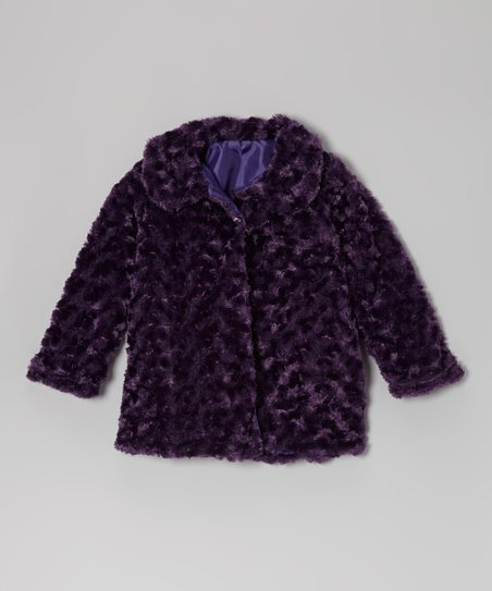 Dark Purple Minky Swirl Jacket - Infant, Toddler & Girls