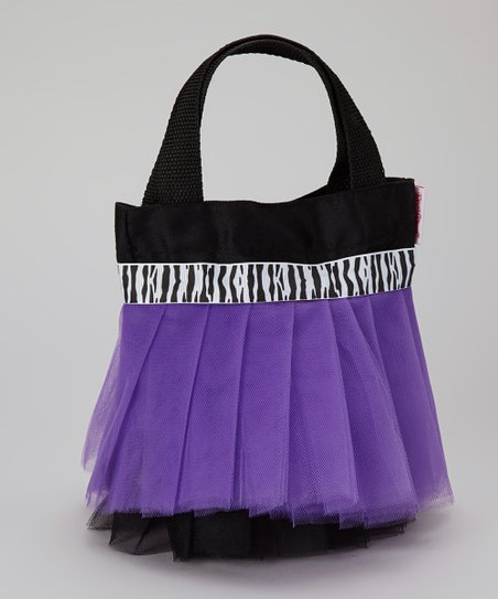 Black & Purple Zebra Tutu Tote