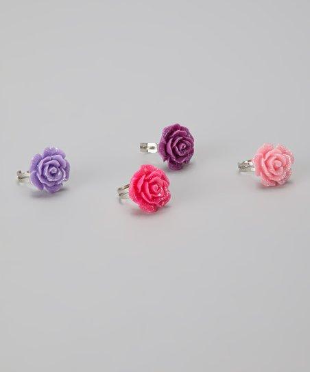 Glitter Princess Rose Ring Set