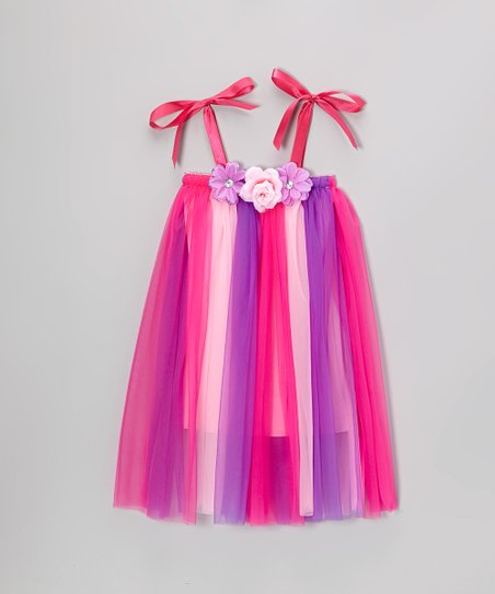 Pink Rosette Flapper Shift Dress - Toddler & Girls