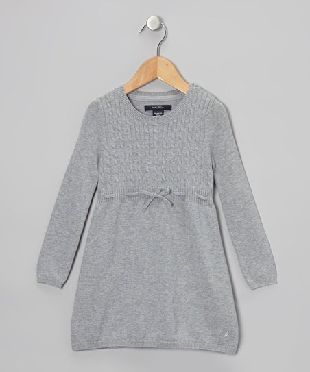 Gray Bow Cable-Knit Dress - Girls