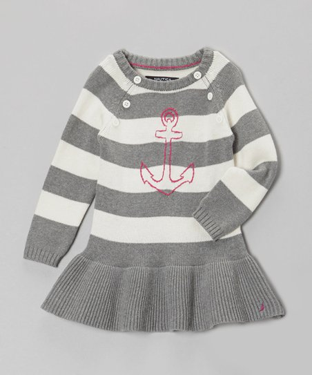 Heather Gray Stripe Anchor Sweater Dress - Toddler & Girls