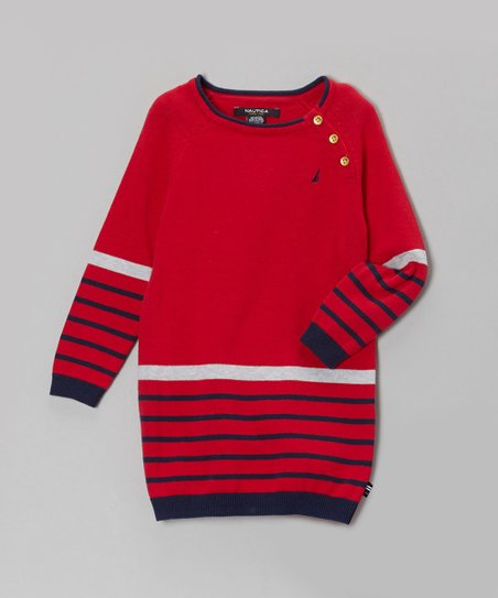 Red & Blue Stripe Sweater Dress - Infant
