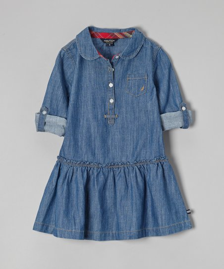 Blue Denim Chambray Dress - Girls