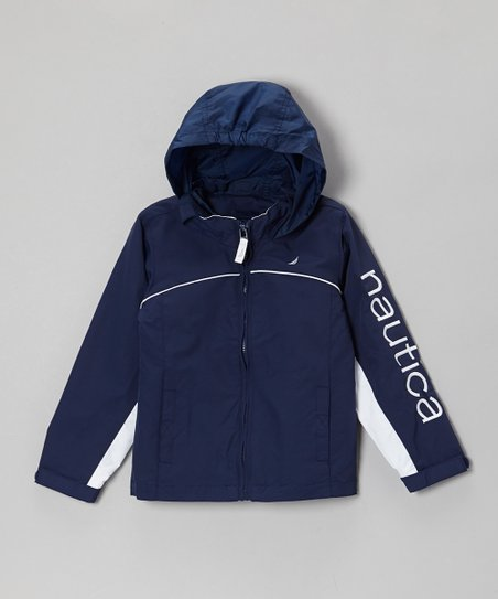 Navy Blue 'Nautica' Rain Jacket - Girls