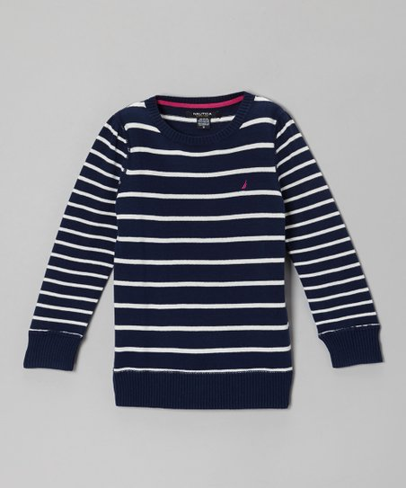 Navy Blue Stripe Long-Sleeve Sweater - Girls