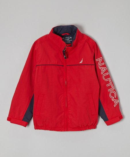 Red 'Nautica' Hooded Rain Jacket - Boys