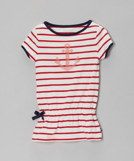 Red & Blue Stripe Anchor Cinch-Waist Tee - Toddler & Girls