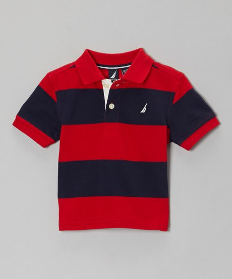 Holly & Navy Blue Stripe Polo - Infant