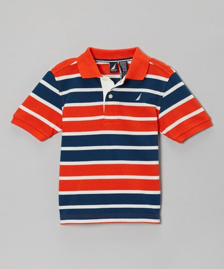 Tomato & Blue Stripe Polo - Infant