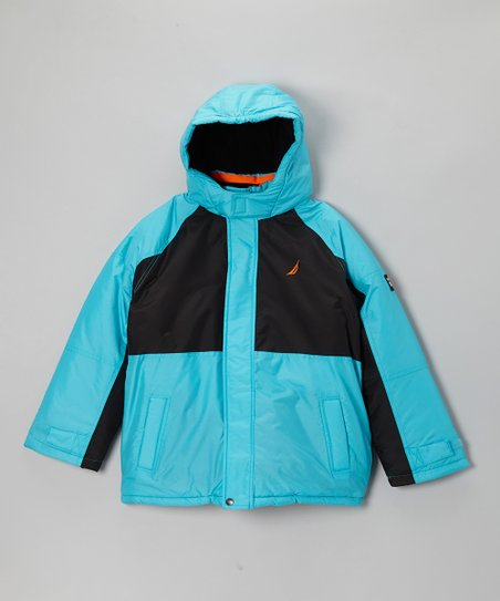 Aqua & Black Snorkle Jacket - Kids